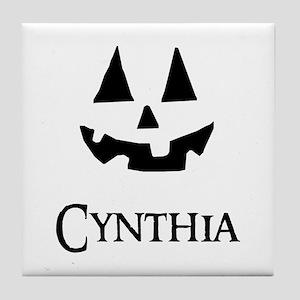 Cynthia Halloween Pumpkin face Tile Coaster
