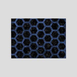 HEXAGON2 BLACK MARBLE & BLUE STONE 5'x7'Area Rug