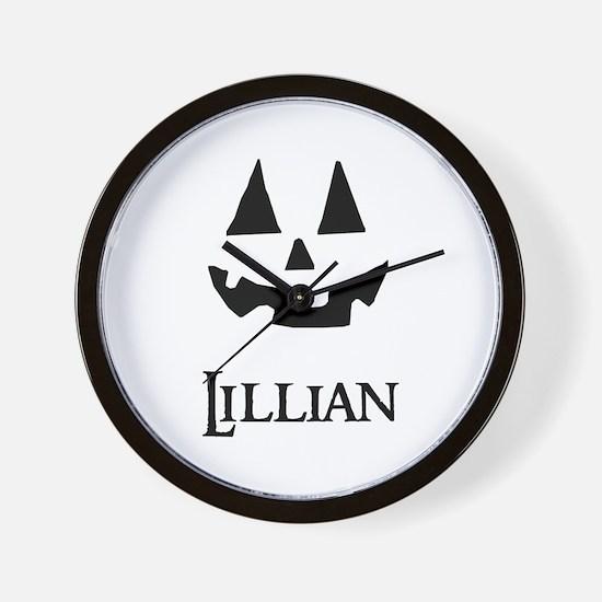 Lillian Halloween Pumpkin face Wall Clock