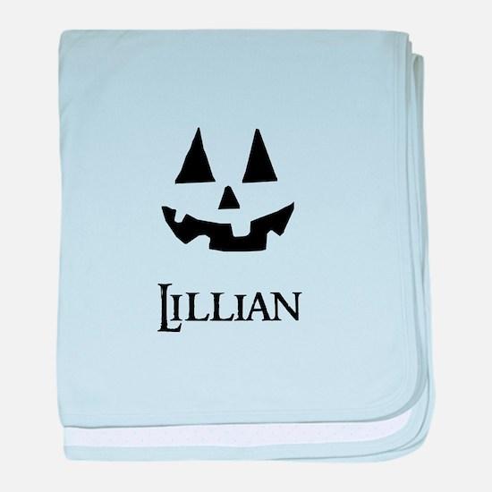 Lillian Halloween Pumpkin face baby blanket