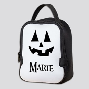 Marie Halloween Pumpkin face Neoprene Lunch Bag