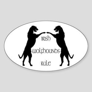 Irish Wolfhounds Rule Oval Sticker