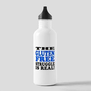 Gluten Free Struggle Blue/Black Water Bottle