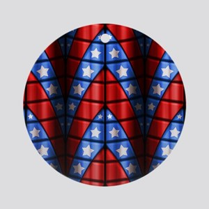 Superheroes - Red Blue White Star Ornament (Round)