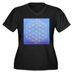 FLOWER OF LIFE Women's Plus Size V-Neck Dark T-Shi