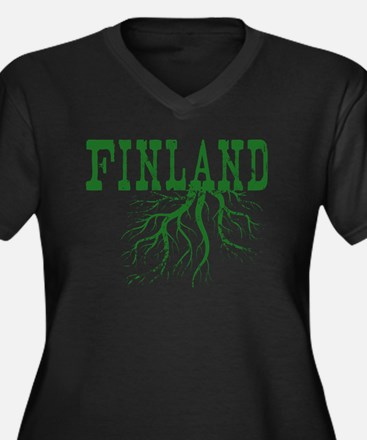 Finland Root Women's Plus Size V-Neck Dark T-Shirt