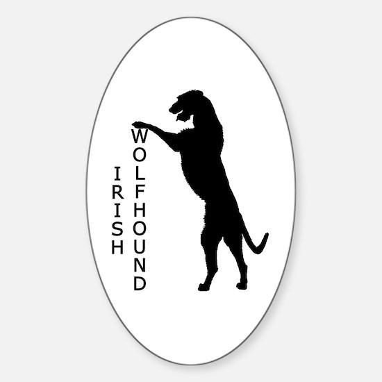 Tall Irish Wolfhound Oval Decal