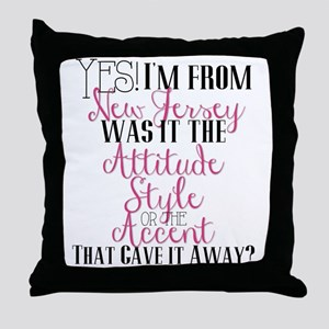 New Jersey Girl (Pink) Throw Pillow
