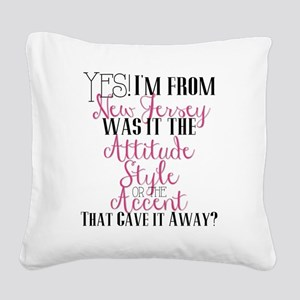 New Jersey Girl (Pink) Square Canvas Pillow