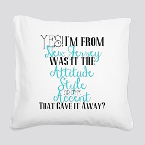 New Jersey Girl (Blue) Square Canvas Pillow