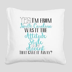 North Carolina Girl (Blue) Square Canvas Pillow