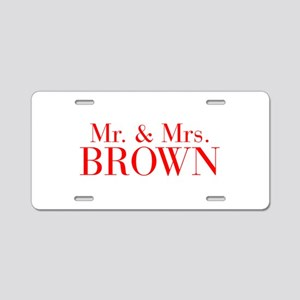 Mr Mrs BROWN-bod red Aluminum License Plate