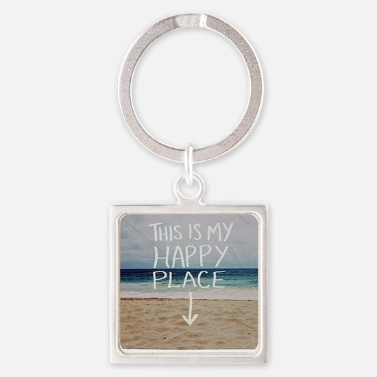 This Is My Happy Place Square Keychain
