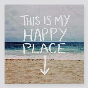 """This Is My Happy Place Square Car Magnet 3"""" x 3"""""""