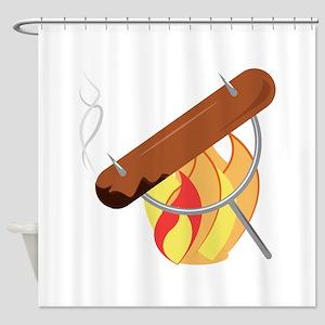 Campfire Dog Shower Curtain