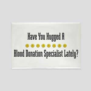 Hugged Blood Donation Specialist Rectangle Magnet