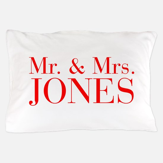 Mr Mrs JONES-bod red Pillow Case