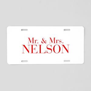 Mr Mrs NELSON-bod red Aluminum License Plate