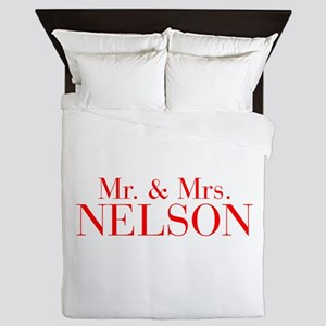 Mr Mrs NELSON-bod red Queen Duvet