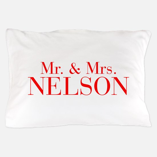 Mr Mrs NELSON-bod red Pillow Case