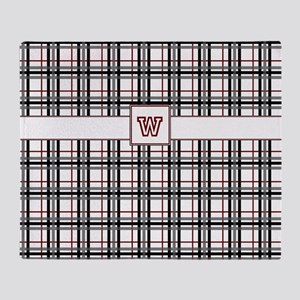 Black White and Red Plaid Throw Blanket