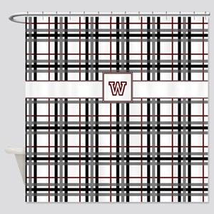 Black White And Red Plaid Shower Curtain