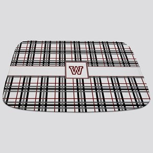 Black White and Red Plaid Bathmat