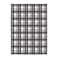Black White and Red Plaid 5'x7'Area Rug
