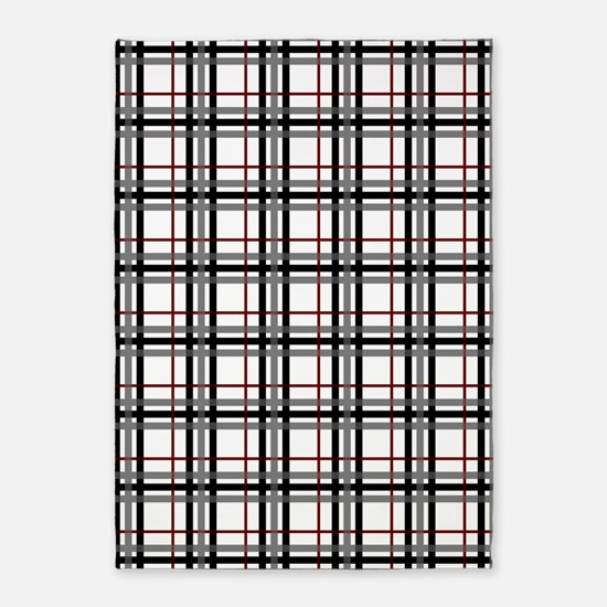 Black White And Red Plaid 5 X7 Area Rug