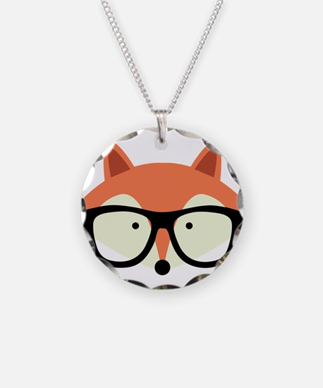 Hipster Red Fox Necklace Circle Charm