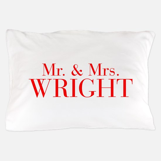 Mr Mrs WRIGHT-bod red Pillow Case