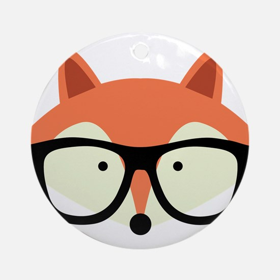 Hipster Red Fox Ornament (Round)