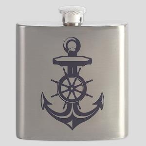 Antique Navy Blue Anchor Flask