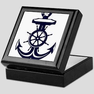 Antique Navy Blue Anchor Keepsake Box