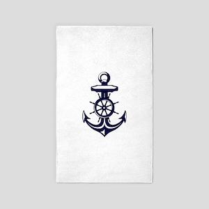 Antique Navy Blue Anchor 3'x5' Area Rug