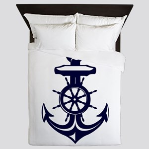 Antique Navy Blue Anchor Queen Duvet
