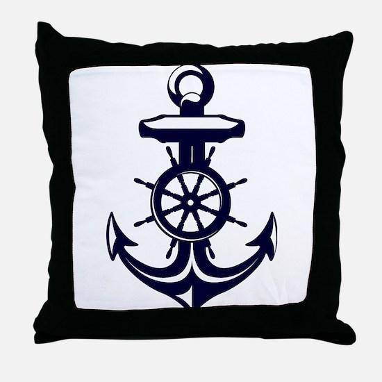 Antique Navy Blue Anchor Throw Pillow