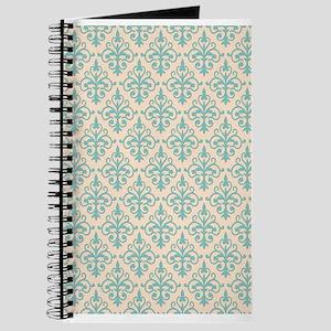 Aqua Sky & Linen Damask 41 Journal