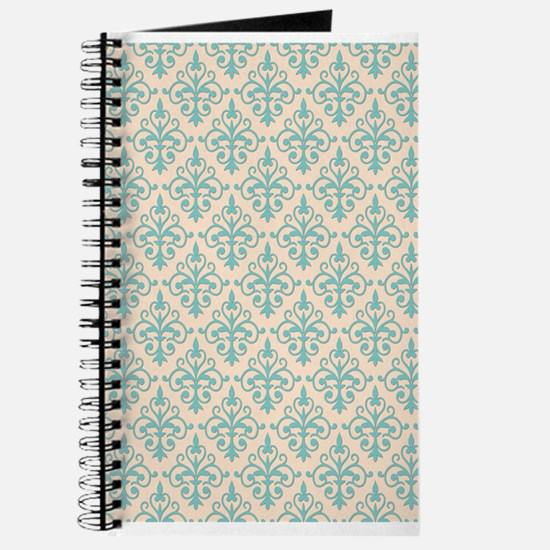 Aqua Sky & Linen Damask 41 Journal