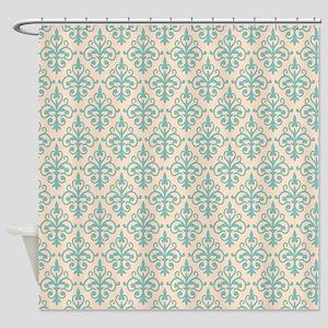 Aqua Sky & Linen Damask 41 Shower Curtain