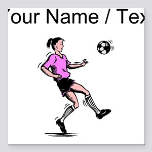 "Custom Girl Soccer Player Square Car Magnet 3"" x 3"