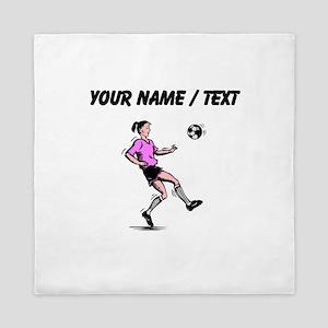 Custom Girl Soccer Player Queen Duvet