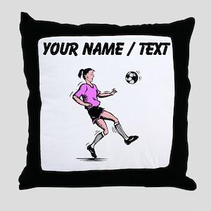 Custom Girl Soccer Player Throw Pillow