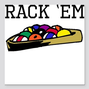"Rack Em Billiards Square Car Magnet 3"" x 3"""