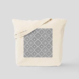 Diamond Pattern Grey and White Tote Bag