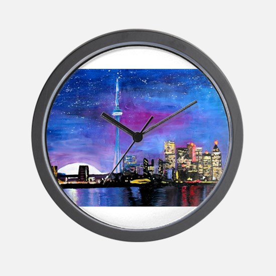 TorontoToronto Skyline at Night Wall Clock