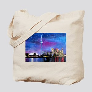 TorontoToronto Skyline at Night Tote Bag