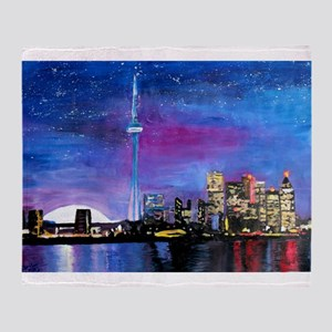 TorontoToronto Skyline at Night Throw Blanket