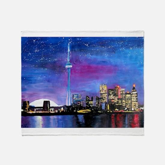 TorontoToronto Skyline at Night Throw Blanket