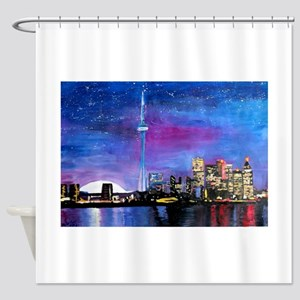 TorontoToronto Skyline at Night Shower Curtain